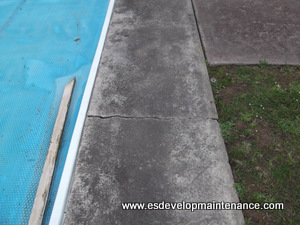 Pool lip crack away from concrete path